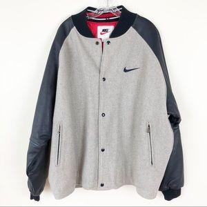 5def43546 Men's Nike Varsity Jacket Wool/Leather Gray Navy